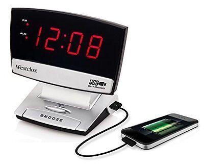 "Westclox 71014x 0.9"" Led Plasma Screen Alarm Clock With Usb Charging Port"
