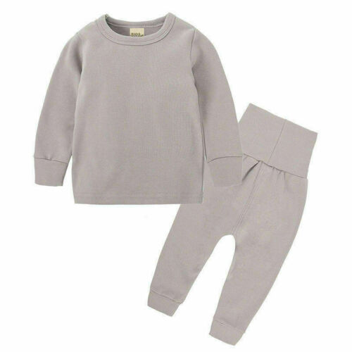 Unisex Kids Child Long Sleeve Nightwear Winter Thermal Plain Colour Pajamas Set