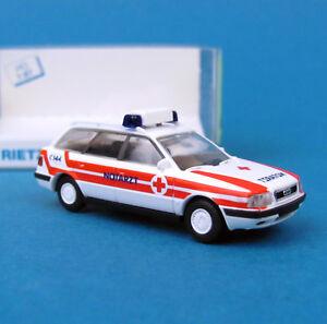 Rietze-H0-50795-Audi-80-Avant-Notarzt-Osterreich-OVP-HO-1-87-Box