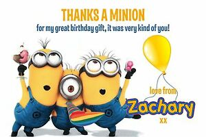 Personalised Thank You Cards Despicable Me Minion X 5 Ebay