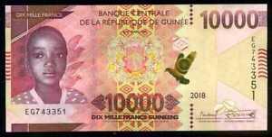 GUINEA  10000 FRANCS  2012  P 46 prefix WM  Uncirculated Banknotes