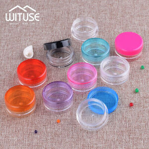 Mini-3g-5g-Jar-Round-Pots-Small-Plastic-Sample-Containers-Cosmetic-Powders-Box