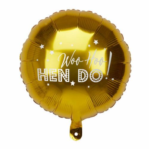 Gold Foil Round Hen Night Party Helium Balloon Woo Hoo Hen Do