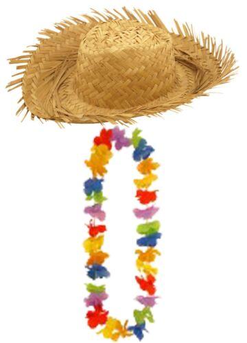 Adultes Homme Hawaïen Fête paille Beachcomber chapeau multi pétales Lei Hula 100 cm Set