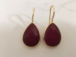 Gold-Earrings-Burgundy-Jade-Gemstone-Precious-Teardrop-Bronze-Turkish-Ottoman