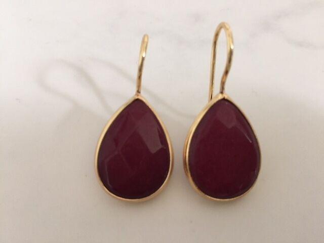 Gold Earrings Burgundy Jade Gemstone Precious Teardrop Bronze Turkish Ottoman