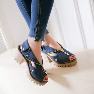 Womens-Punk-Denim-Shoes-Peep-Toe-Chunky-Block-Heel-Canvas-Roman-Gladiator-Sandal