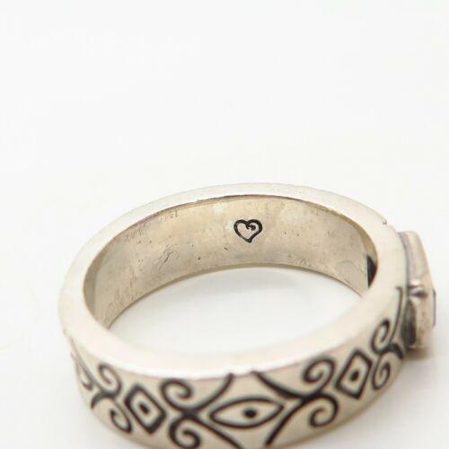 Argent Sterling 925 Véritables Gemme Améthyste Orné Design Ring