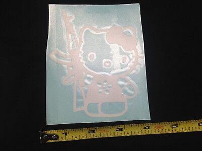 "x2 Hello Kitty Gun 4/"" BLACK WHITE Vinyl Sticker Decal Car Truck window control"