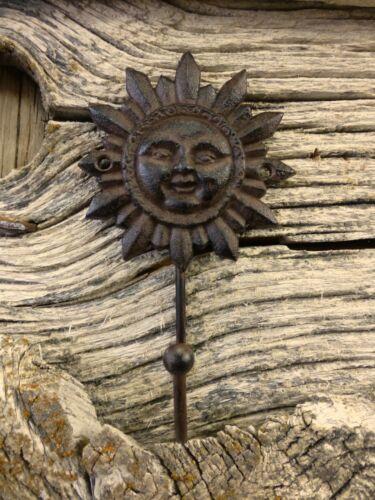 "2 BROWN SUN FACE HOOKS ANTIQUE-STYLE 6/"" CAST IRON sunburst yard garden coat key"
