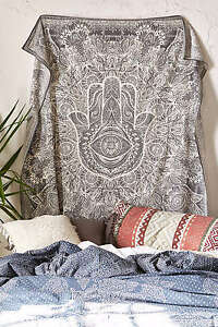 Indian Fatima Hand Hamsa Tapestry Hippie Wall Hanging Decor Bedding Bedspread