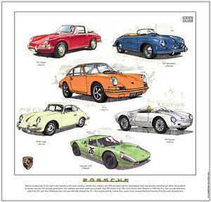 Vintage Porsche Fine Art Print 356 Coupe Speedster 550