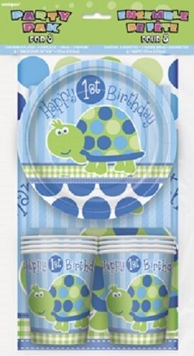 First(1st)Birthday (Boy) TURTLE PARTY PACK for 8(Plates Cups Napkins Tablecover)