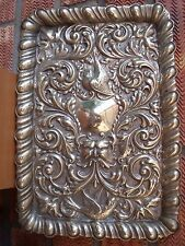 Antique Silver Plated Tray Embossed with Green Man & Pair of Birds late 1890s