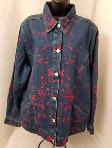 Denim-amp-Co-Womens-Blue-Jean-Red-Floral-Embroidery-Jacket-Coat-Size-L