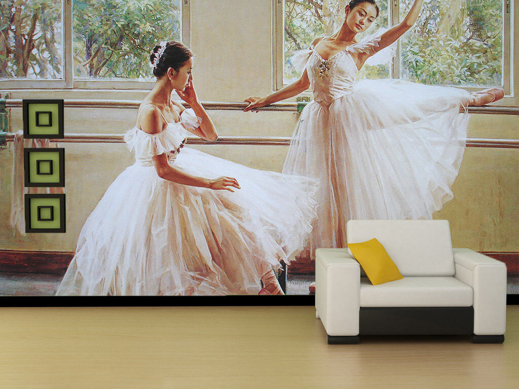 3D Weiß Long Skirt Dancers Wall Paper Wall Print Decal Wall AJ WALLPAPER CA
