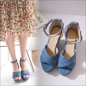 Womens Platform Wedge High Heels Peep Toe Denim Sandals Ankle Strap ... 3cb667d4332