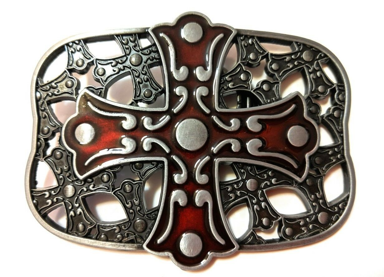 *` NEW DESIGN CROSS AND SHIELD ` Full Metal BELT BUCKLE Christian **US seller