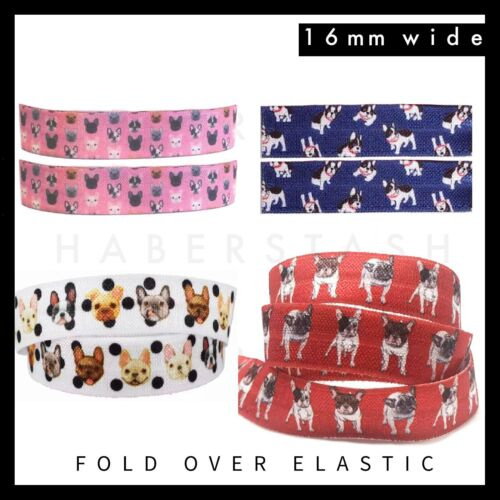 "French Bulldog print Fold Over Elastic FOE 5//8/"" 16mm per metre Frenchie Dog"