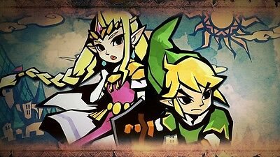 Zelda & Link -  Wall Poster 15 in x 24 in - FAST SHIPPING - WHITE