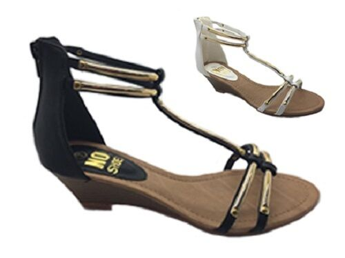 Ladies shoes No shoes Anklet Black gold White gold Wedge Zip up Gladiator Sandals