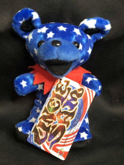 "Grateful Dead Beanie Bear UNCLE SAM Stuffed Plush Doll 7"" Liquid Blue Vintage"