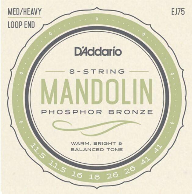 10 Sets D'Addario EJ75 Mandolin Strings Phosphor Bronze Medium Heavy 11.5-41 J75