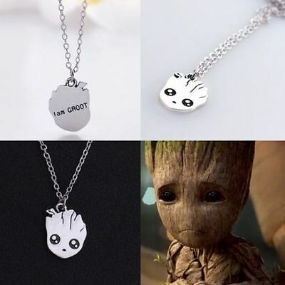 CUTE I AM GROOT CHARM NECKLACE SILVER GUARDIANS OF THE GALAXY IN GIFT BAG
