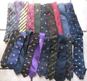 Job-Lot-50-X-MENS-Vintage-Club-Association-Crested-Tie-1960s-1970s-1980s-JOBLOT