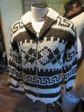 Vintage Genuine Cowichan Full Zip Shawl Collar.Cardigan Sweater Large.c Label