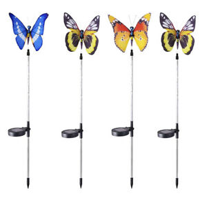 4x Color Changing LED Butterfly Solar Garden Stake Light Path Landscape Lamp