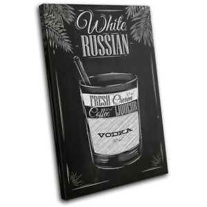 White-Russian-Cocktail-Alcohol-Vintage-SINGLE-CANVAS-WALL-ART-Picture-Print