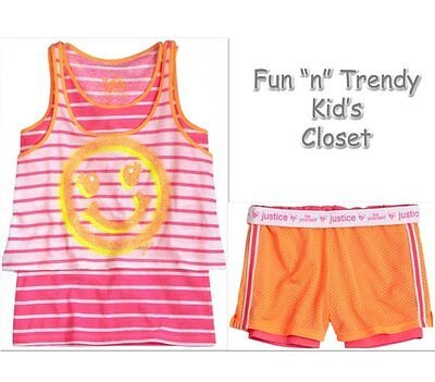NWT Justice Girls Size 7 8 Neon 2fer Mesh Shorts /& Smiley Face Tank Top 2-PC SET