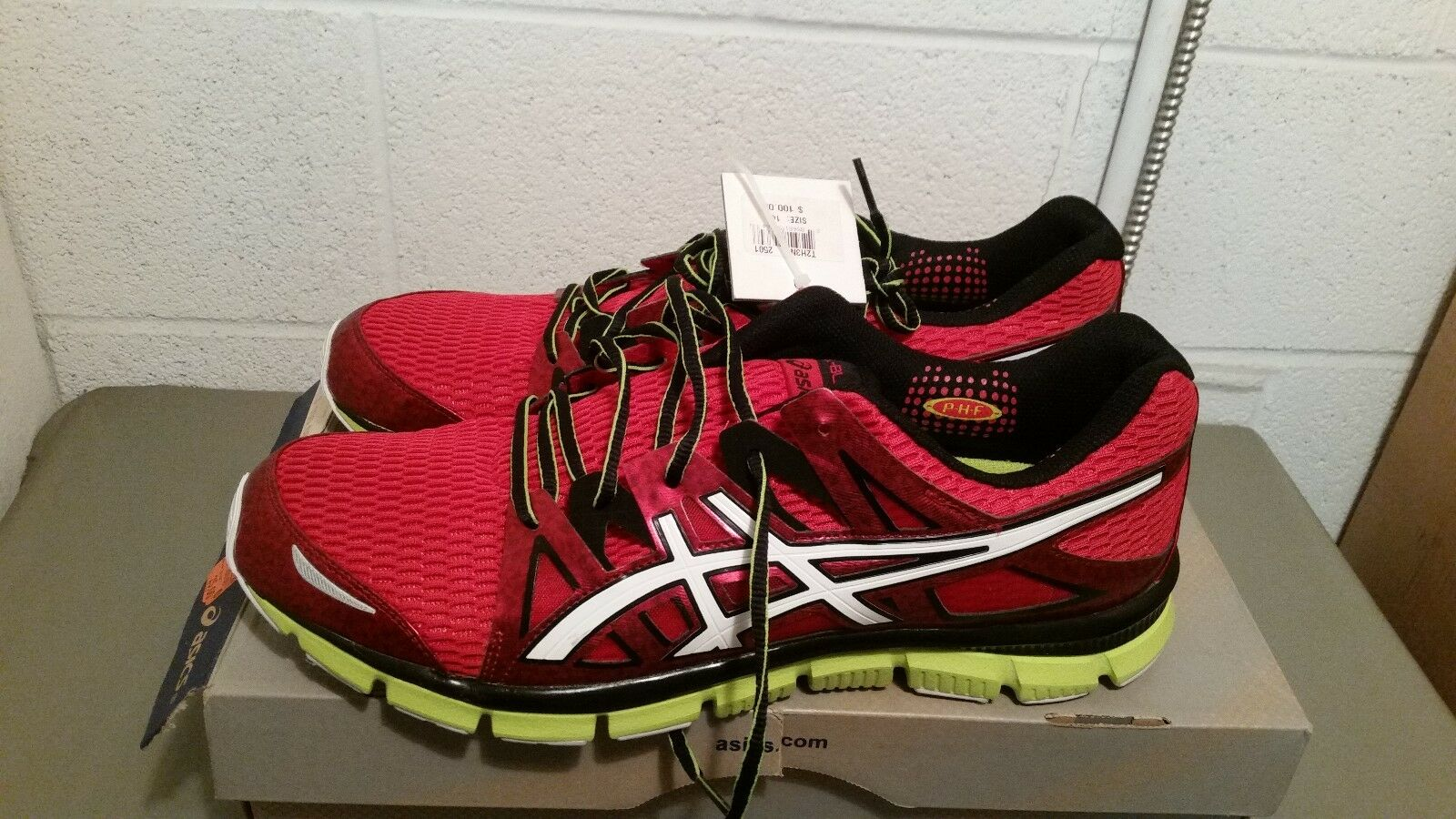 New ASICS Men's Red White Lime Gel Athletic shoes