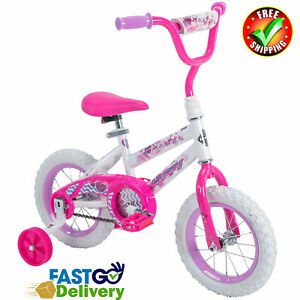 Pink Girls Bike With Training Wheels 12 Inch Bicycle Kids Toddlers 2