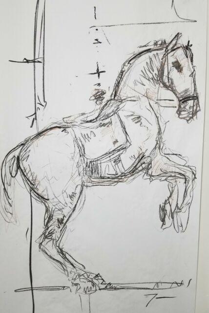 JOSE TRUJILLO HUGE Art - Expressive CHARCOAL DRAWING ORIGINAL Figurative Horse