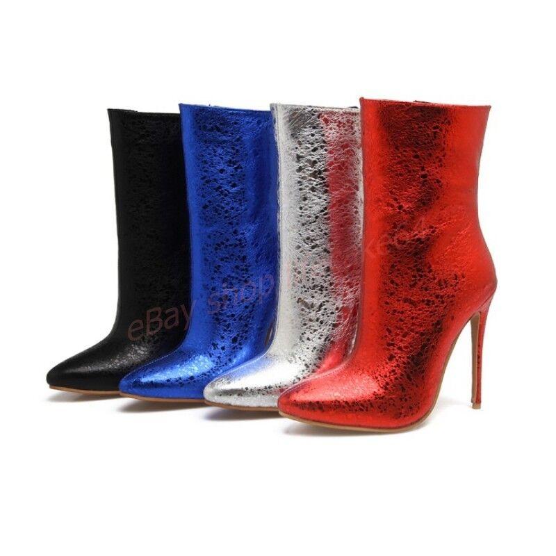 Damen Schuhe Stiefeletten Spitz High Heels Stiletto Abendclub Gr.34-44 Farbwahl