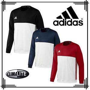 Mens 3 Adidas Stripe Climalite Track Sweatshirt Crew Neck Sports T16 tUxpqwZ