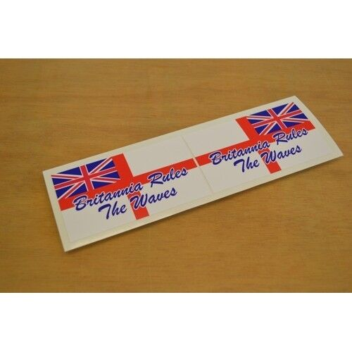 Britannia Rules The Waves Vinyl Sticker Decal Graphic PAIR Flag /'White Ensign