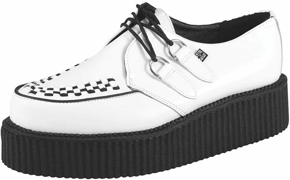 T.U.K. Women's , Men's Unisex wedge Leather Creepers Shoes In White Black