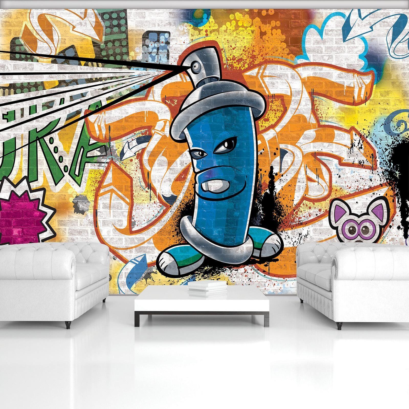 Vließ Fototapete Tapete Wandbild Blaue Graffiti-Spray Farbe 320210_VENMVT