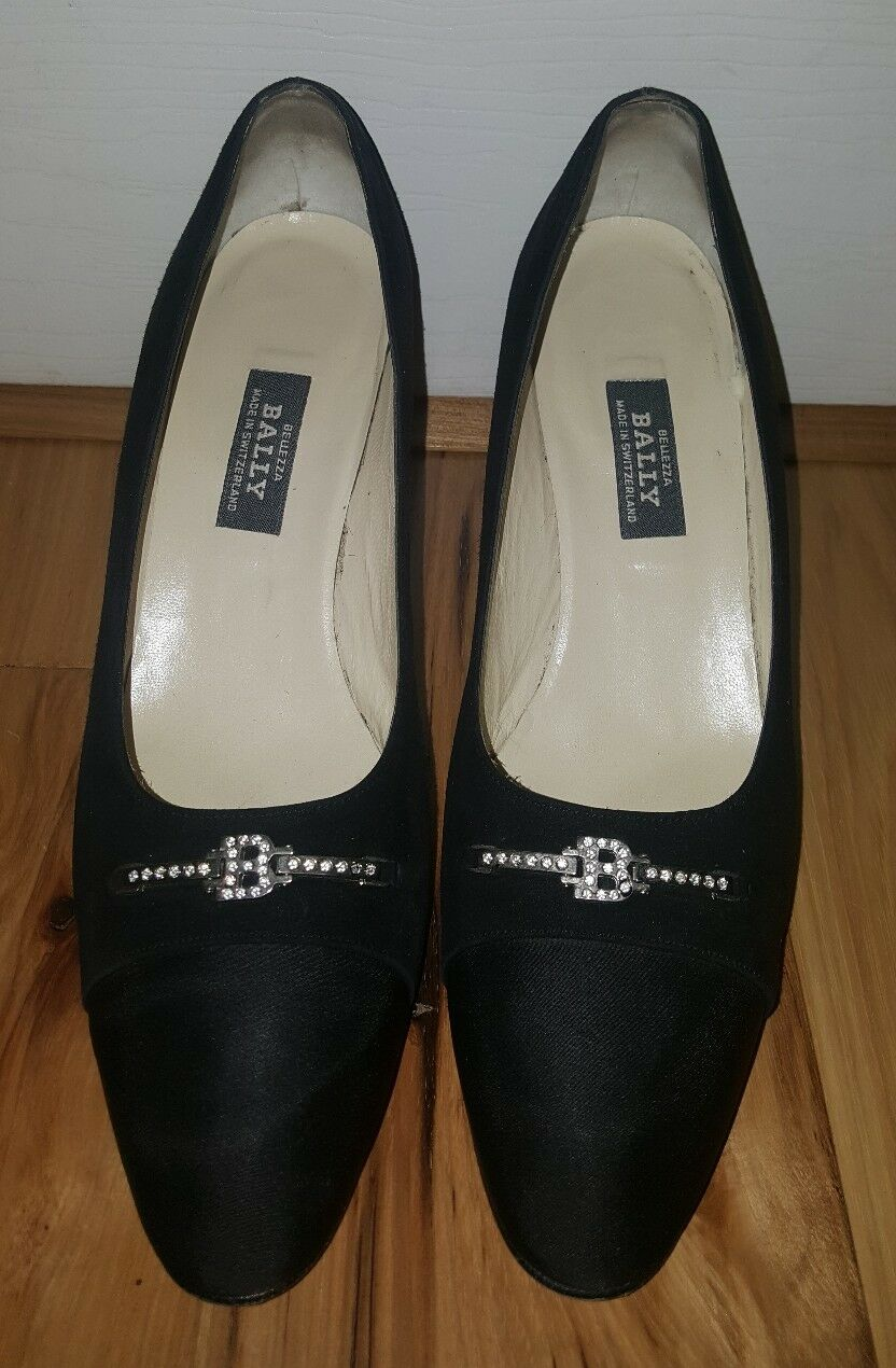 Bally Bellezza Pumps black Suede Evening crystals 9.5 C Ogier shoes EXCELLENT