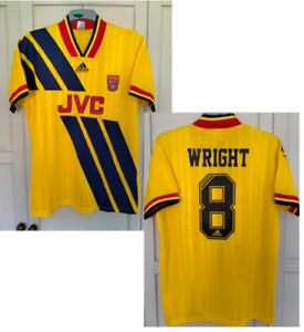 """WRIGHT 8# Arsenal FC 1993-1994 Away football Shirt YELLOW JVC SIZE XL 44"""" FIT"""