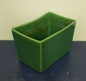 Vintage-MCM-Haeger-Pottery-Glossy-Green-Rectangular-Succulent-Planter-3878