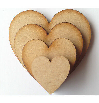 50x Wooden heart shapes 3mm MDF Blank Embellishments Craft 30mmx30mm