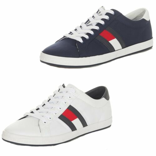 Tommy Hilfiger Herren Sneaker Essential Flag Schuhe Weiß Navy
