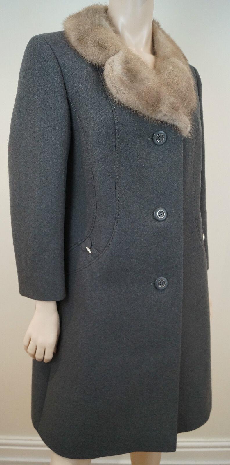 COUTURE  COMTESSE gris Pure Wool Beige Mink Fur Collarojo Lined Winter Coat Sz M  mejor calidad