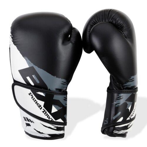 Punch Town BXR KR Boxing Gloves Black /& White