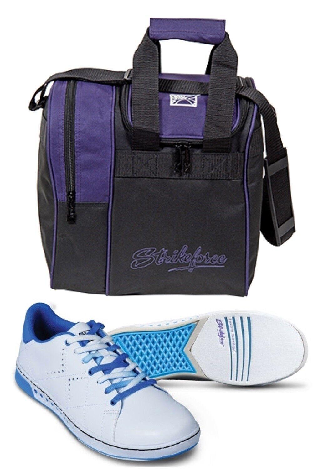 Girls KR Strikeforce GEM Bowling shoes White & bluee Sizes 1-5 & Purpl 1 Ball Bag
