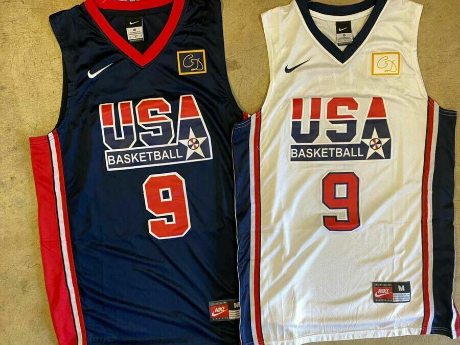 mesh Breathable Basketball Vest S-XXL -S Classic Retro Embroidered V-Neck Basketball Uniform QWY Jordan Dream Team #9 White Basketball Jersey